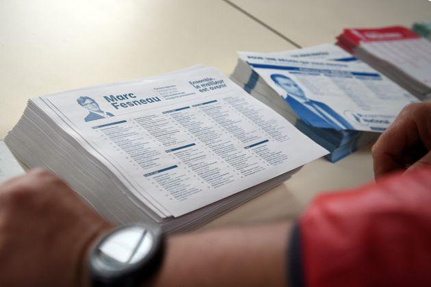 Un bureau de vote à Saint-Remy-Sur-Avre le 20 juin