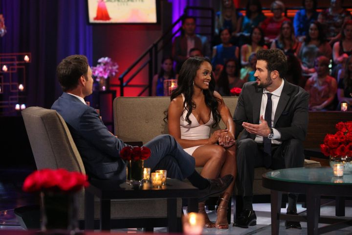 """Rachel Lindsay and Bryan Abasolo on the finale of """"The Bachelorette"""" in 2017."""