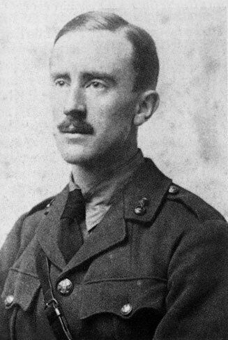 J. R. R. Tolkien (aged 24) in army uniform, photograph taken in 1916. Tolkien was commissioned as a Second Lieutenant in the Lancashire ...
