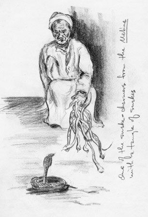 From the most ancient times, snake charmers have performed tricks and stunts with snakes, like the performance I once sketche