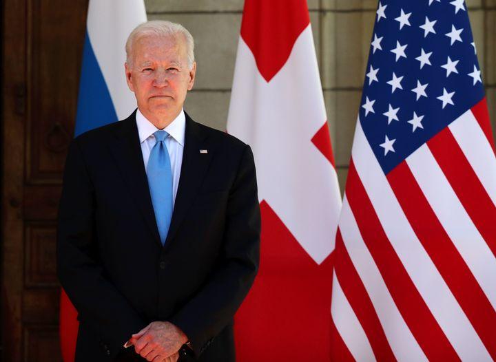 GENEVA, SWITZERLAND  JUNE 16, 2021: US President Joe Biden looks on before a Russia-United States summit at the Villa La Gran