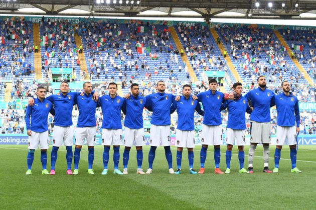 ROME, ITALY - JUNE 20: Players of Italy line-up prior to the UEFA Euro 2020 Championship Group A match...