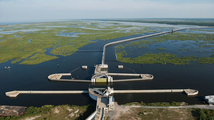 An aerial view of the Inner Harbor Navigation Canal-Lake Borgne Surge Barrier on Aug. 1, 2015, in New Orleans. The 1.8-mile b