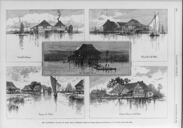 Composite of five wood engravings of drawings by Charles Graham after sketches by J.O. Davidson, from the 1883 Harper's Weekl