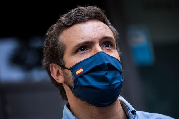 Pablo Casado, el pasado 13 de junio, en la protesta de Colón contra los