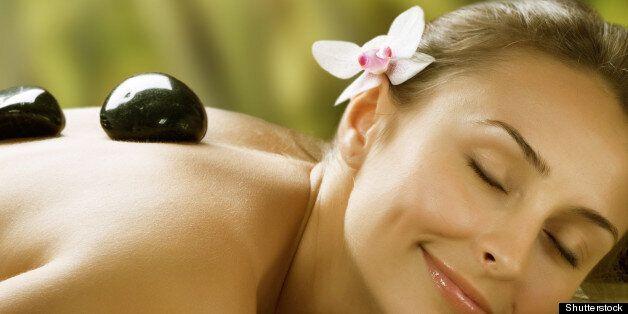 spa outdoor.stone massage