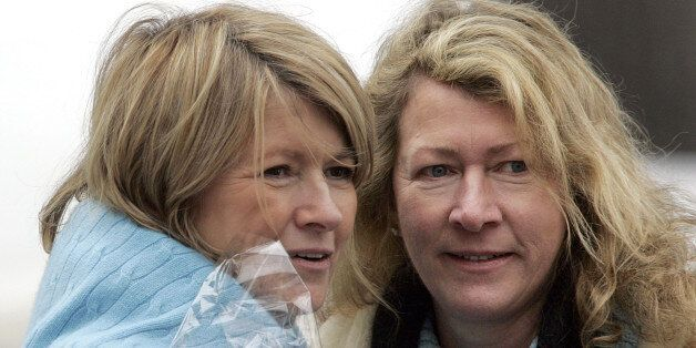KATONAH, NY - MARCH 6: Martha Stewart (L) and her sister, Laura Plimpton, look at a visitor during a walk on Stewart's Katonah estate March 6, 2005 in Katonah, New York. Stewart was released from jail March 4 and will spend the next five months confined to her home. (Photo by Stephen Chernin/Getty Images)