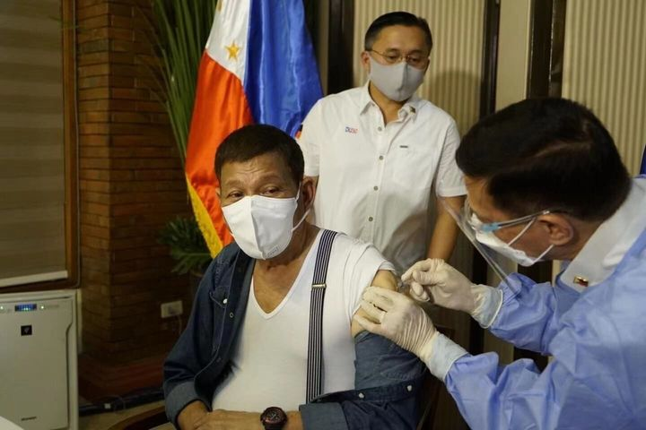 Philippine President Rodrigo Duterte received his first dose of China's Sinopharm COVID-19 vaccine in May 3. On Tuesday,&nbsp