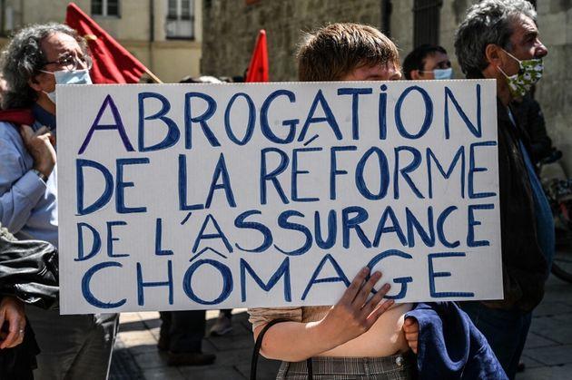 Photo prise en avril 2021 à Montpellier lors d'une manifestation contre la réforme de l'assurance...