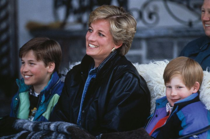 Princess Diana with her sons Prince William (left) and Prince Harry on a skiing holiday in Lech, Austria, on March 30, 1993.