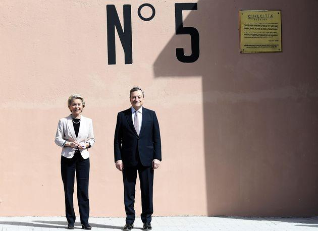 Italian Prime Minister Mario Draghi (R) and President of European Commission Ursula von der Leyen during their meeting at Cinecitta' studios in Rome, Italy, 22 June 2021. ANSA/ETTORE FERRARI/POOL