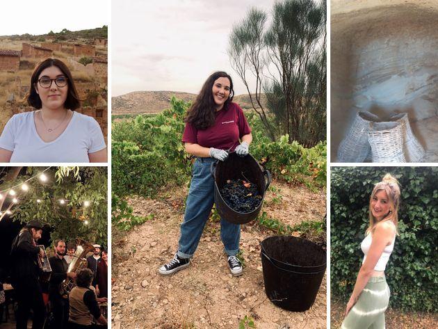 De izq. a der: Tamara, Jennifer y Rebeca, participantes en el 'Erasmus rural'. Abajo a la izq, imagen...