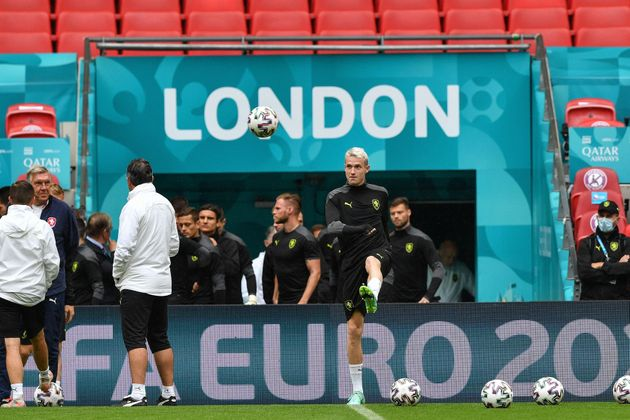Czech Republic's players including midfielder Jakub Jankto take part in their MD-1 training session at...