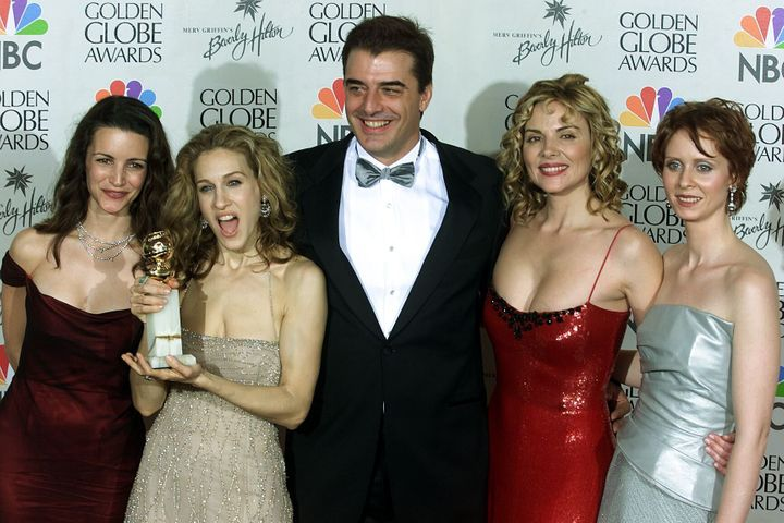 """Chris Noth (center) with his """"Sex and the City"""" co-stars Kristin Davis, Sarah Jessica Parker, Kim Cattrall and Cynthia Nixon"""