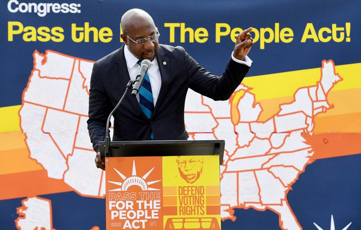 Senator Reverend Raphael Warnock (D-Ga.) speaks at a rally in front of the U.S. Supreme Court to call on the Senate to pass t