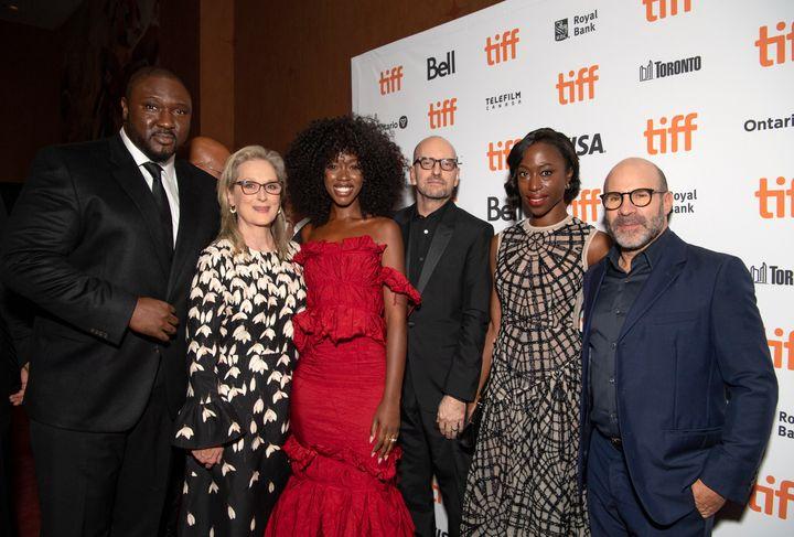 "Nonso Anozie, Meryl Streep, Jessica Allain, Steven Soderbergh, Nikki Amuka-Bird and Scott Z. Burns at the premiere of """