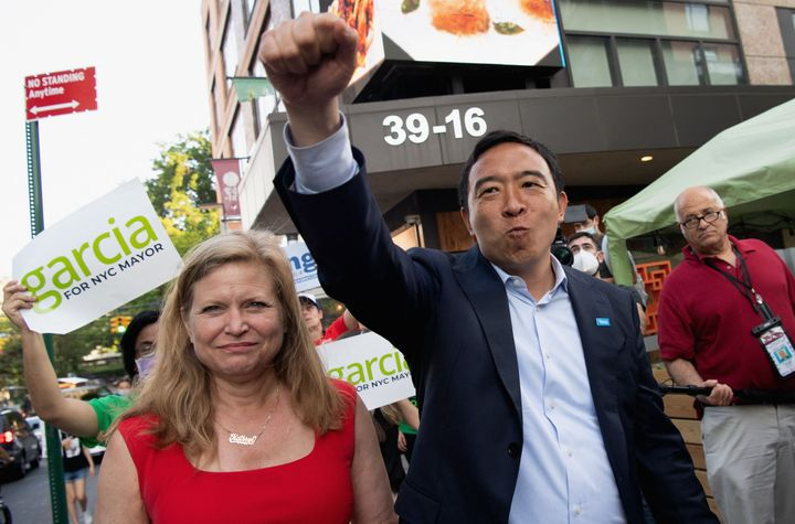 New York City mayoral candidates Kathryn Garcia and Andrew Yang campaign in Queens on Monday. Adams suggested that their coll