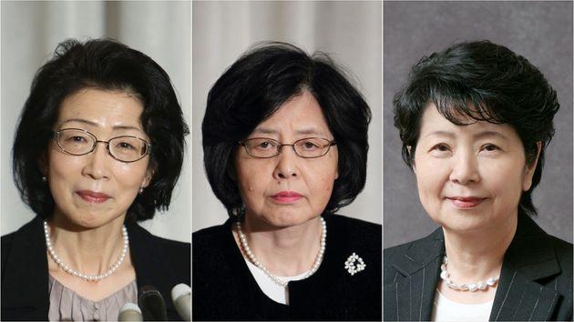 いずれも元最高裁裁判官の、鬼丸かおるさん、岡部喜代子さん、櫻井龍子さん(左から)