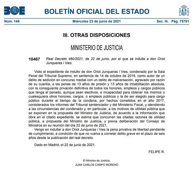 Real decreto que promulga el indulto a Oriol