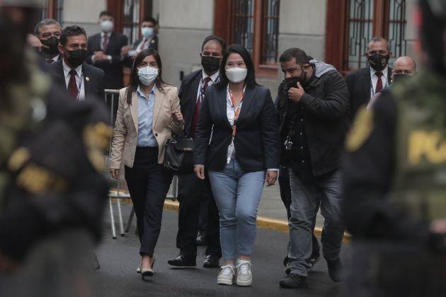 Keiko Fujimori sale del Ministerio Público tras someterse a la petición de la Fiscalía,...