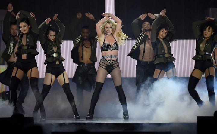 Britney Spears, en un concierto de su gira en Londres en 2018.