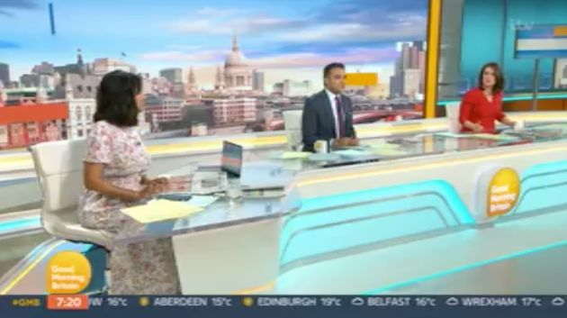 Ranvir in the GMB studio with Adil Ray and Susanna