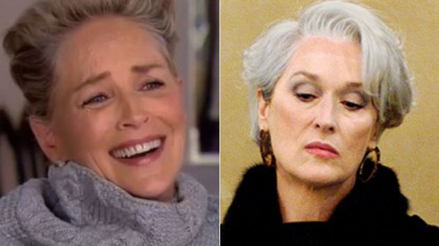 Sharon Stone en una entrevista en la CBS y Meryl Streep en 'El diablo viste de
