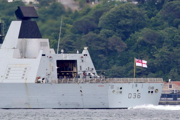 British Royal Navy's Type 45 destroyer HMS Defender sets sail in the Bosphorus, on its way to the Black...