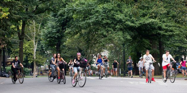 Cyclists ride along the West Drive in New York's Central Park, Tuesday, Sept. 1, 2015. Pope Francis will take a spin through