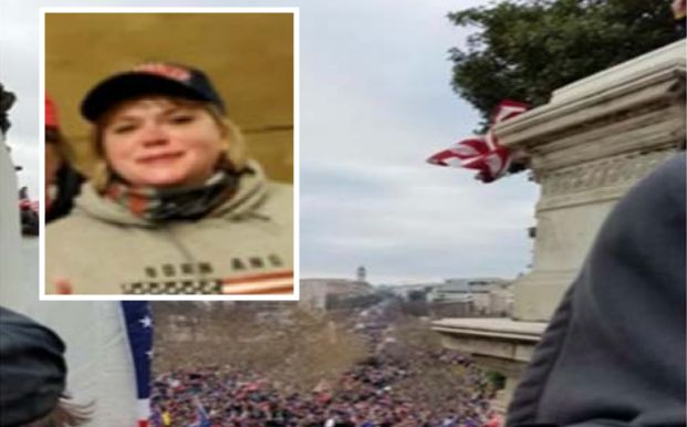 U.S. Capitol defendant Anna Morgan-Lloyd, inset, and a Facebook photo from the Capitol on Jan. 6 in which Morgan-Lloyd was ta