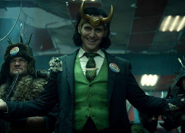 "Tom Hiddleston as Loki in the Disney+ series ""Loki."""