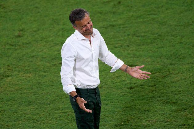 Luis Enrique, en un momento del partido contra