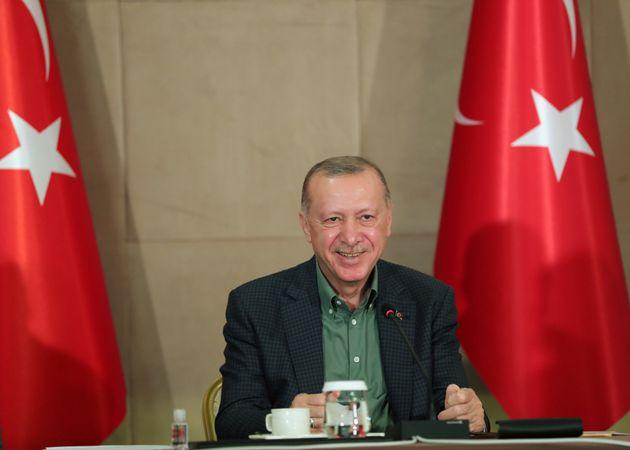 ANKARA, TURKEY - JUNE 20: Turkish President, Recep Tayyip Erdogan speaks during an event held via video...