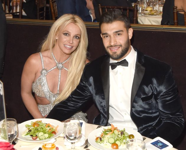 Britney Spears and Sam Asghari at the GLAAD Media Awards in