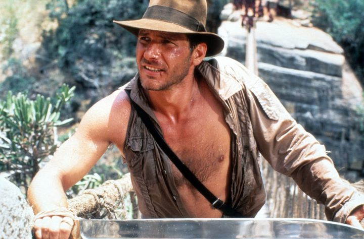 """Ford in a scene from the film """"Indiana Jones And The Temple Of Doom"""" in 1984."""