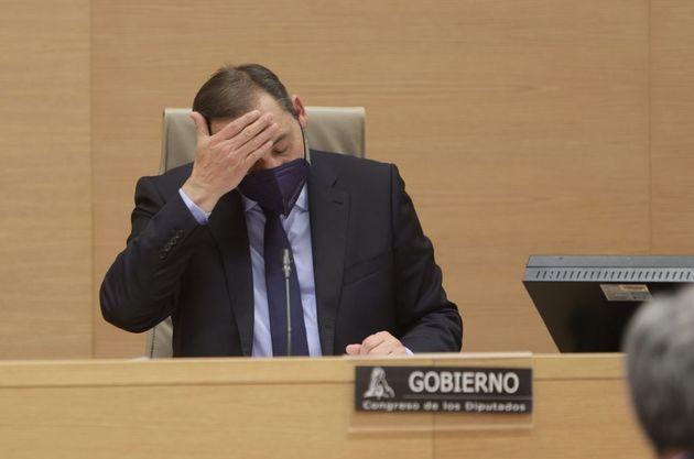 El ministro de Transportes, José Luis Ábalos, este miércoles, en el