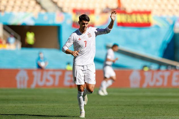 El delantero Alvaro Morata durante el Eslovaquia-España (MARCELO DEL POZO / POOL / AFP) (Photo...