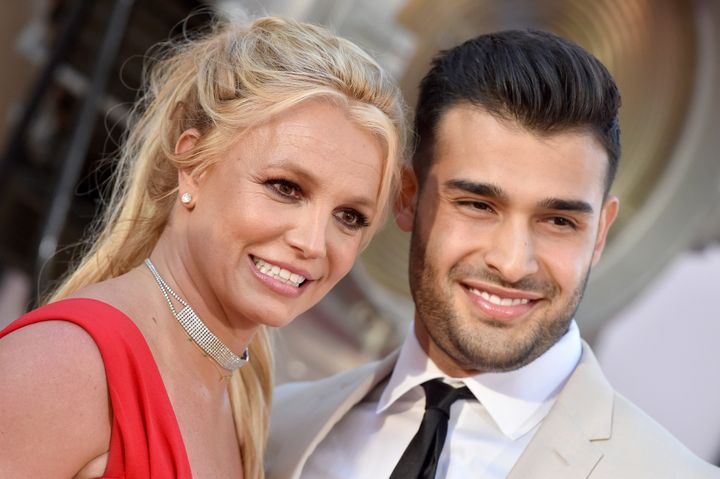"""Britney Spears and Sam Asghari attend the premiere of """"Once Upon a Time ... in Hollywood"""" on July 22, 2019, in Hollywood, Cal"""