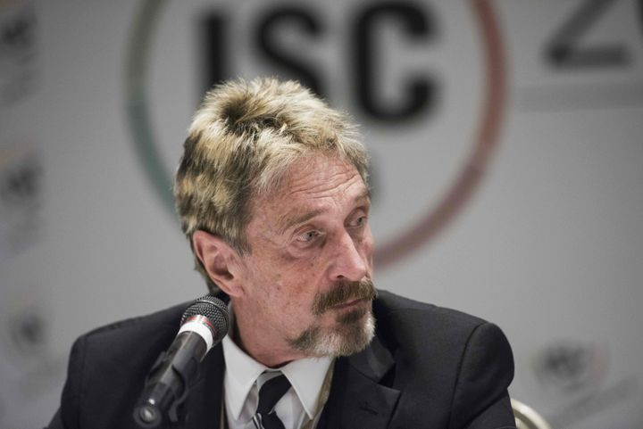 John McAfee, founder of the eponymous antivirus company, speaks to journalists at the China Internet Security Conference in B