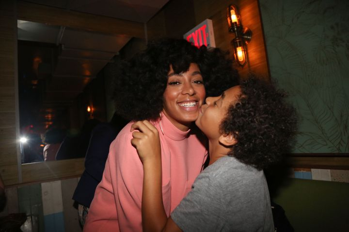 Solange Knowles and her son Julez at Baby's All Right, a venue in Brooklyn, New York, on May 4, 2014.