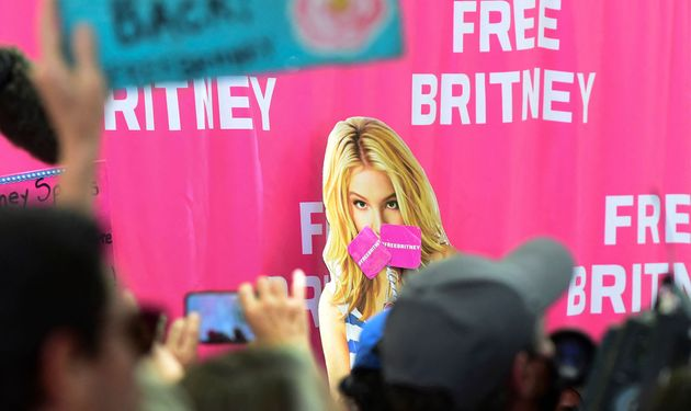 Fans and supporters of Britney Spears gather outside the courthouse in Los Angeles as she speaks before...