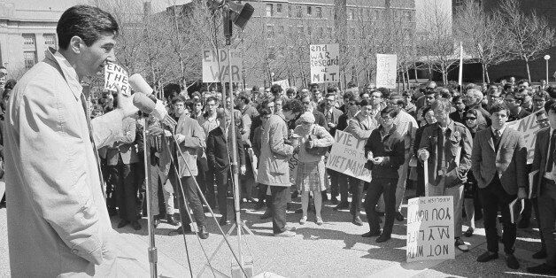 Howard Zinn, left, Prof. of Government at Boston University as he addressed an anti-was rally on Student Center steps at Massachusetts Institute of Technology in Cambridge, Mass., April 12, 1967. The rally was in protest of the war in Vietnam. (AP Photo)