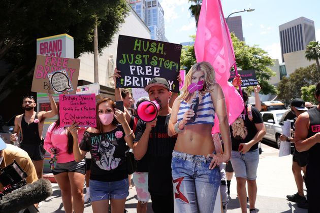 #FreeBritney activists protest at Los Angeles Grand Park during a conservatorship hearing for Britney...
