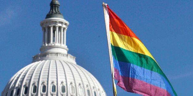 Daniel Raeder, 17, of Rockville, Md., holds a rainbow flag by the Capitol as thousands of gay rights advocates rally in Washington, on Sunday, Oct. 11, 2009. (AP Photo/Jacquelyn Martin)