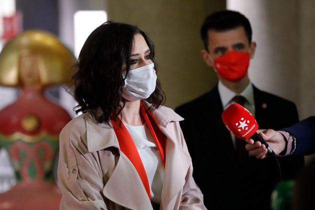 La presidenta de la Comunidad de Madrid, Isabel Díaz Ayuso, el pasado 21 de abril, en el debate electoral...