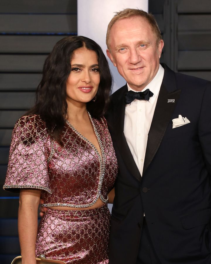Salma Hayek and François-Henri Pinault attend the 2018 Vanity Fair Oscar Party on March 4, 2018, in Beverly Hills, Cal