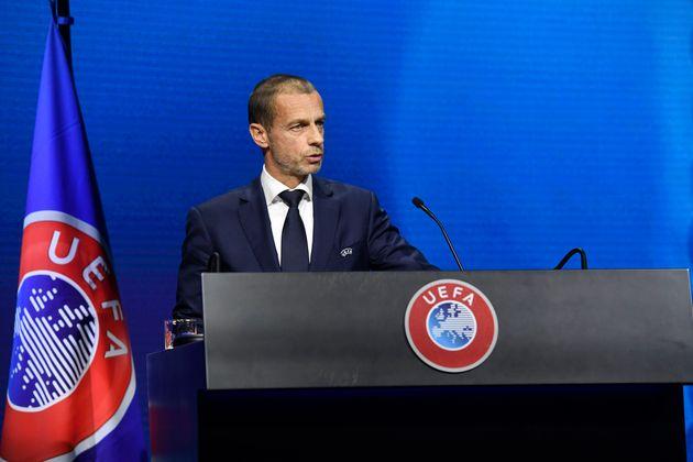 Aleksander Ceferin lors d'un congrès de l'UEFA à Montreux, en Suisse, le 20 avril