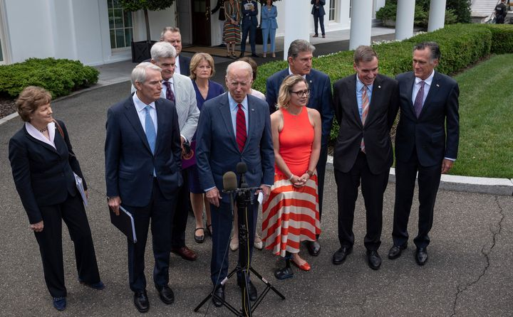 President Joe Biden met with a group of senators about their bipartisan infrastructure package on Thursday.