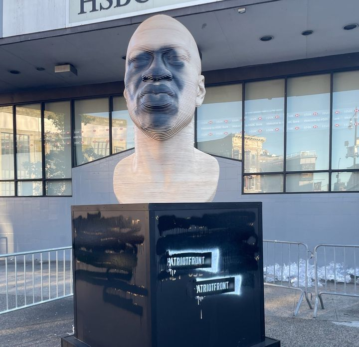 A statue of George Floyd was vandalized in Brooklyn, New York, early Thursday morning, just a few days after its unveiling.
