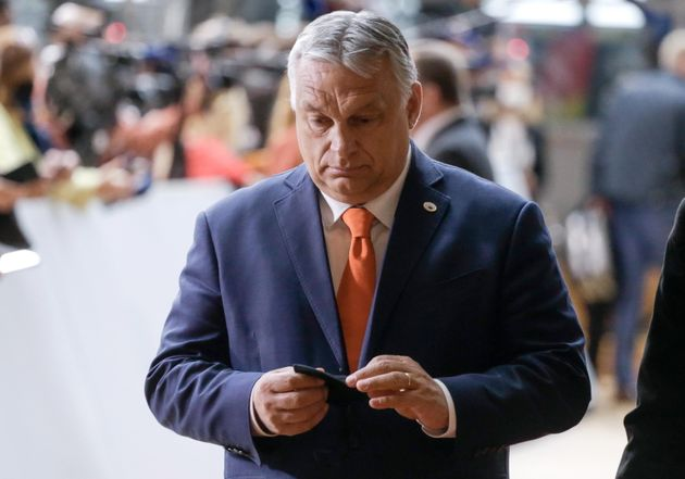 epa09298610 Hungarian Prime Minister Victor Orban arrives on the first day of a European Union (EU) summit...